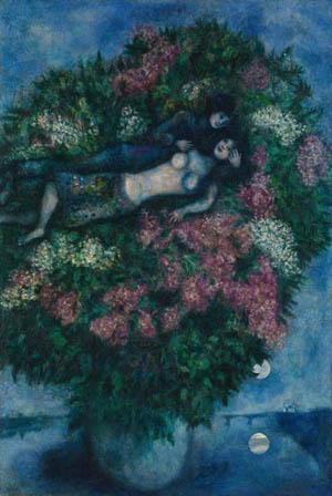 Les amoureux aux lilas - Marc Chagall