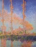 Les peupliers, trois arbres roses, automne - Claude Monet