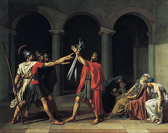Exemple de peinture neoclassiciste - Le serment des horaces - Jacques-Louis David