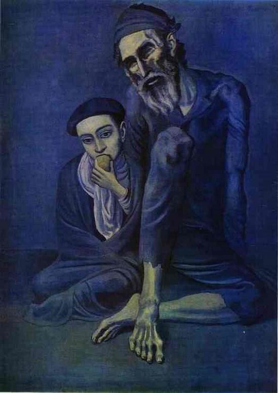 Le mendiant et l\'enfant - Pablo Picasso - Peintures, tableaux, dessins